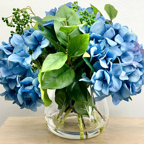 5 Flower/10 Stem Artificial Blue Hydrangeas