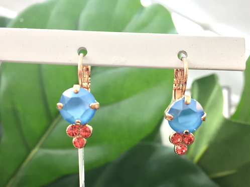 Sky Blue & Bright Pink Crystal Rose Gold Dewdrop-Shaped Earrings - Mariana