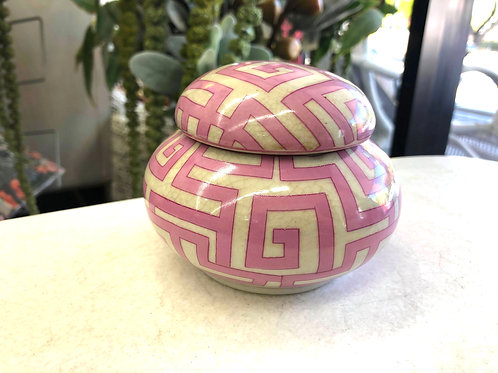 Pink Geometric Ginger Jar