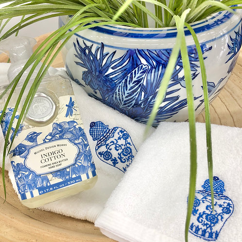 'Ginger Jar' Embroidered Cotton Hand & Face Towels