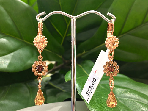 Peach Crystal Rose Gold Flower Earrings - Mariana