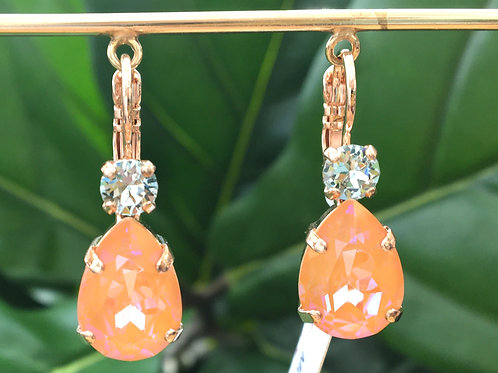 Peach & Icy Blue Crystal Rose Gold Teardrop Earrings - Mariana