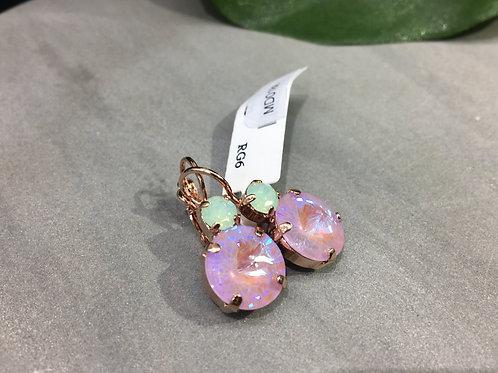 Mauve Duochrome & Milky green Crystal Rose Gold Earrings - Mariana