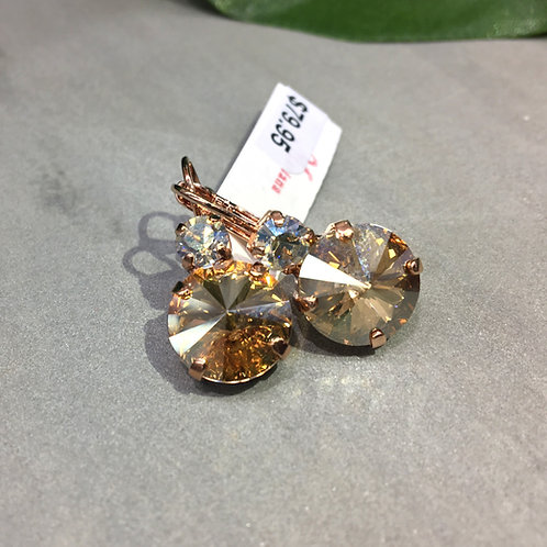 Melon Yellow & Clear Crystal Rose Gold Earrings - Mariana