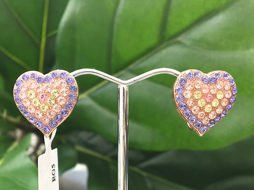 Purple, Pink, & Yellow Crystal Rose Gold Clip-on Heart Earrings - Mariana