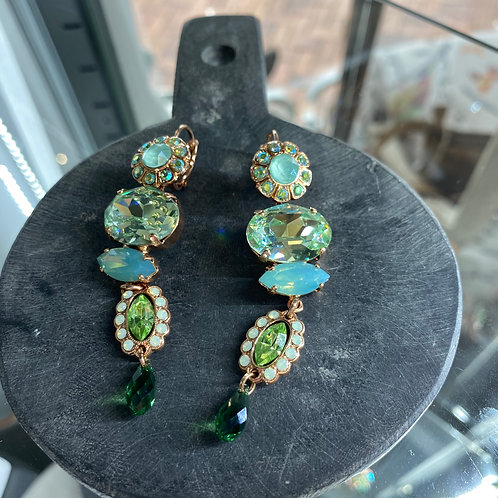 Green Tones Crystal Rose Gold Earrings - Mariana