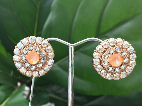 Peach, Icy Blue & Clear Crystal Rose Gold Clip-on Earrings - Mariana