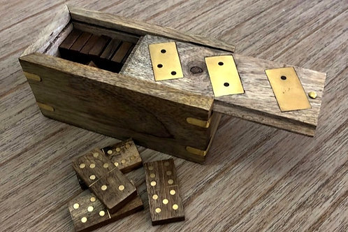 Wooden & Gold Boxed Domino Set