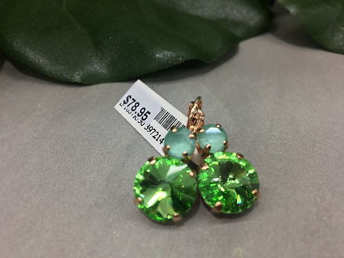 Bright Green & Aqua Crystal Rose Gold Earrings - Mariana
