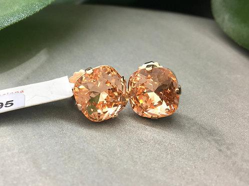 Medium Peach Crystal Rose Gold Stud Earrings - Mariana