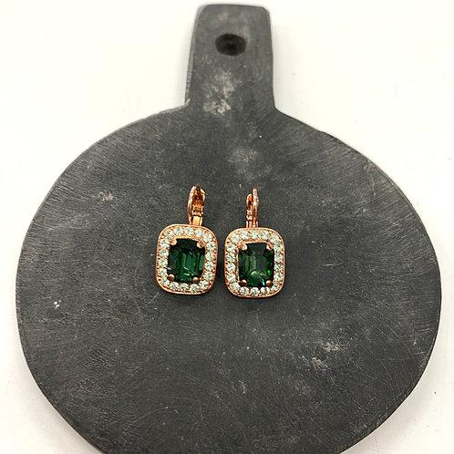 Emerald Rose Gold Earrings - Mariana