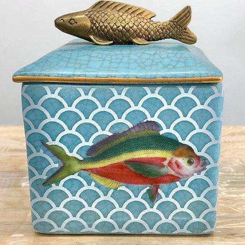 'Poisson' Ceramic Lidded Trinket Box