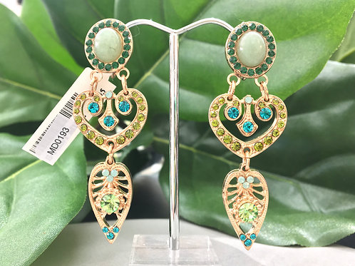 Mixed Green Crystal Rose Gold Clip-on Earrings - Mariana
