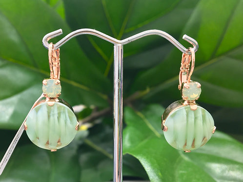 Mint Green Striped Crystal Rose Gold Earrings - Mariana