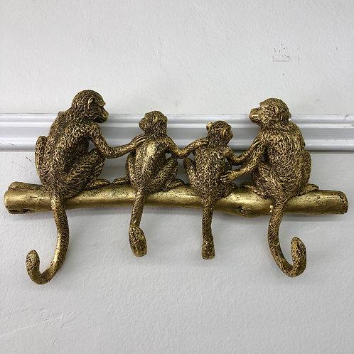'Monkeys on a Branch' Antique-Gold Resin Hanging Hooks