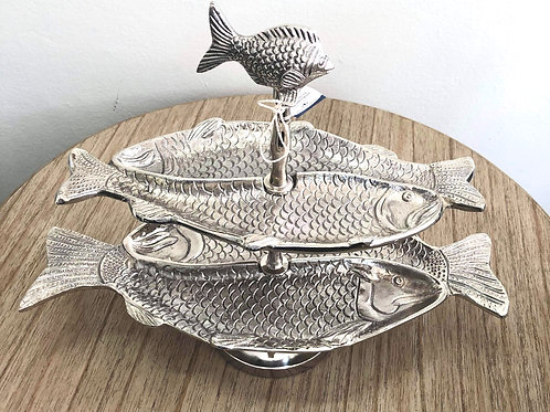 Antique Silver 2-Tier Ocean Fish Tray