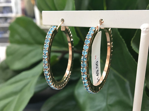 Sky Blue Crystal Studded Rose Gold Hoop Earrings - Mariana