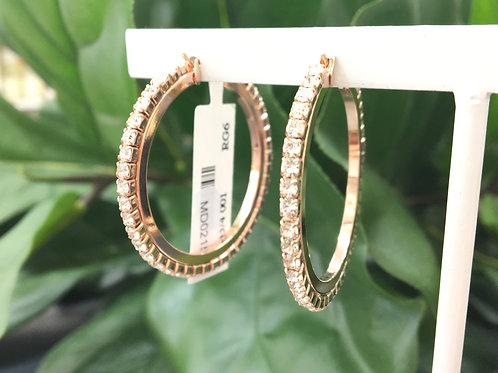 Clear Crystal Studded Rose Gold Hoop Earrings - Mariana