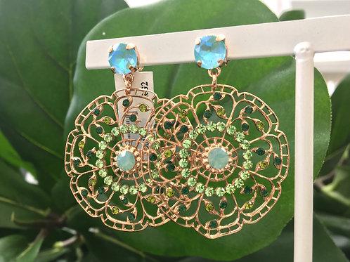 Green & Aqua Crystal Rose Gold Flower Earrings - Mariana