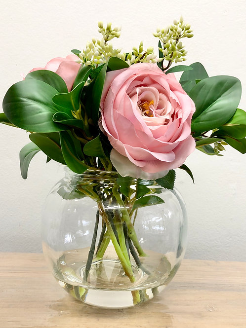 6 Flower/12 Stem Artificial Pink Colombian Roses