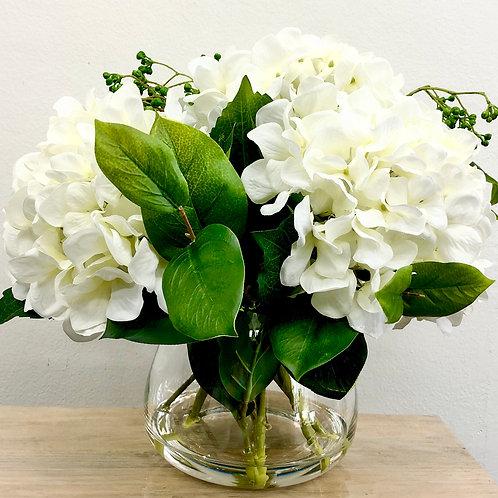 5 Flower/10 Stem Artificial White Hydrangeas