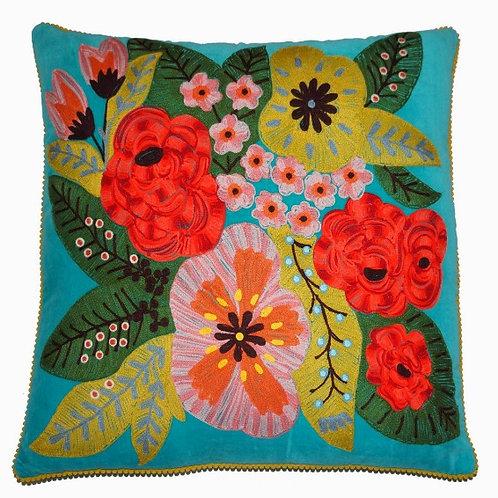 'Floral' Velvet Turquoise Cushion