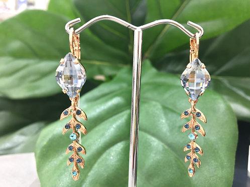 Pale Blue Crystal Rose Gold Leaf Earring - Mariana