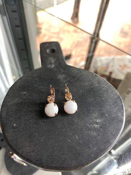 Pink Opalite Peach Crystal Rose Gold Earrings - Mariana
