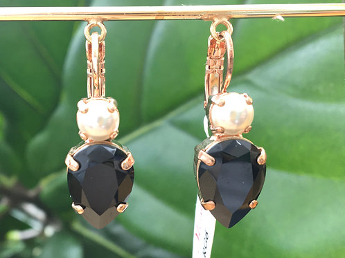 Pearl & Black Onyx Crystal Rose Gold Raindrop Earrings - Mariana