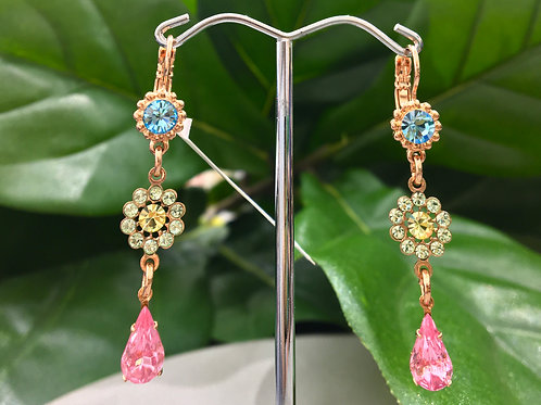 Blue, Pink & Mint Crystals Rose Gold Flower Earrings - Mariana
