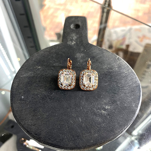 Clear Crystal Rose Gold Rectangular Earrings - Mariana