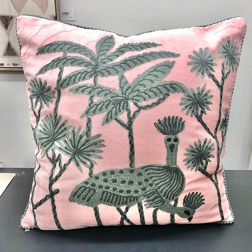 'Pink & Grey Emu' Embroidered Cushion