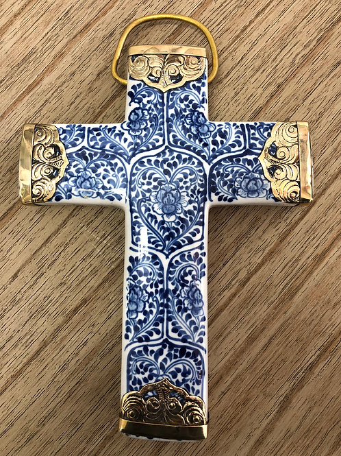 Village Blue Ceramic Cross with Gold Detailing
