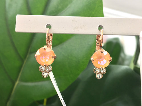 Peach & Icy Blue Crystal Rose Gold Dewdrop-Shaped Earrings - Mariana