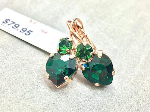 Emerald Heart-Shaped Crystal Rose Gold Earrings - Mariana