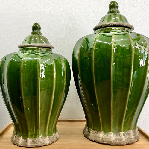 'Montreal' Olive Green Fluted Ceramic Ginger Jars - 2 Sizes