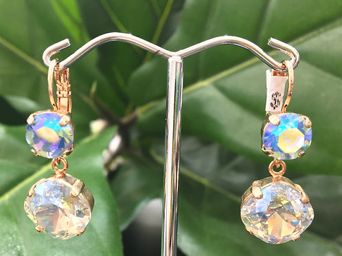 Aqua Duochrome & Clear Crystal Rose Gold Earrings - Mariana