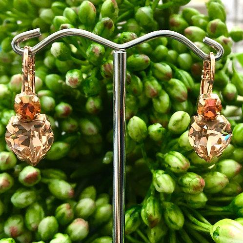 Peach & Mango Heart-Shaped Crystal Rose Gold Earrings - Mariana