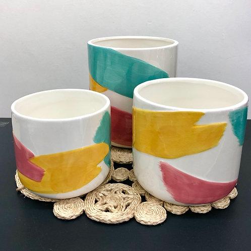 'Brush Stroke' Ceramic Planter Pots