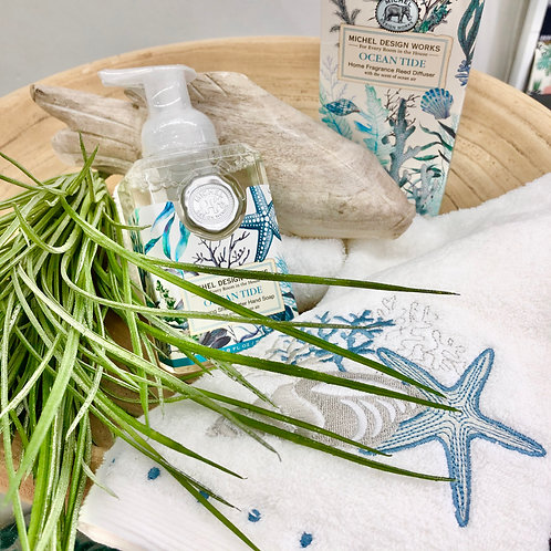 'Seaside' Embroidered Cotton Hand Towel
