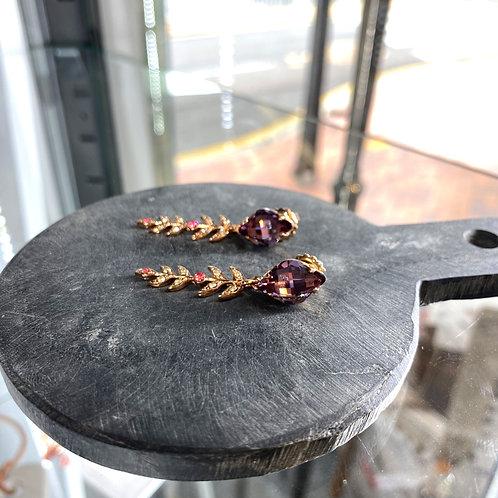 Purple Crystals Rose Gold Leaf Earrings - Mariana