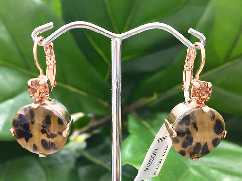 Animal Print Crystal Rose Gold Earrings - Mariana