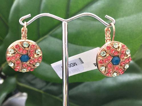 Multicoloured Crystal Rose Gold Swirl Pattern Earrings - Mariana