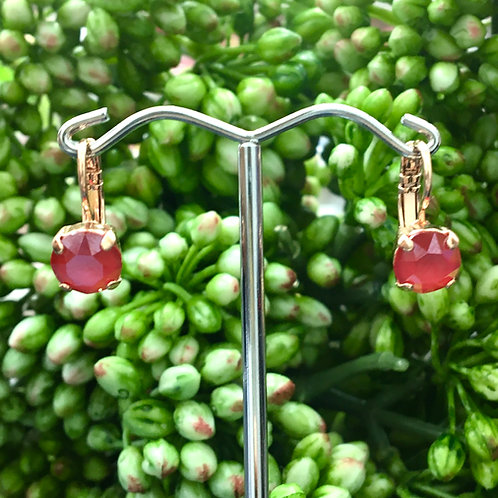 Watermelon Red Crystal Rose Gold Earrings - Mariana