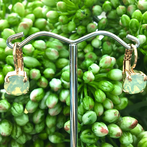 Aqua-Yellow Duochrome Crystal Rose Gold Earrings - Mariana