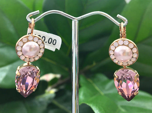 Pink Pearlescent & Crystal Rose Gold Raindrop Earrings