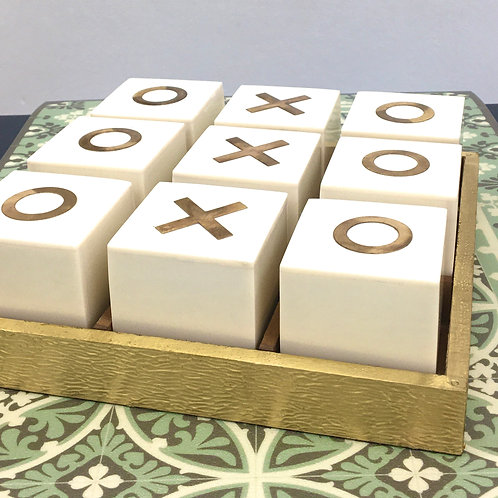 Bone Inlay White & Gold Naughts & Crosses Set