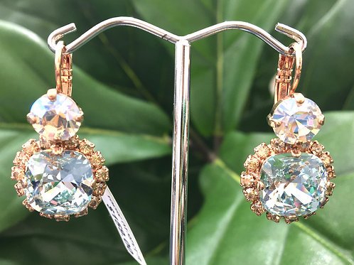 Icy Blue & Clear Crystal Rose Gold Earrings - Mariana