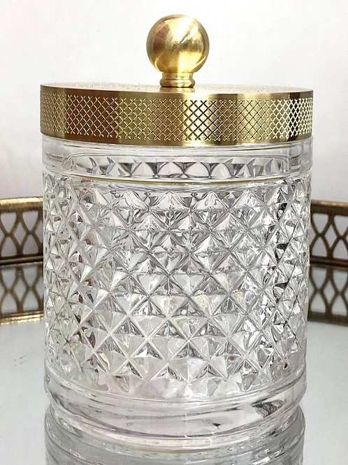 Cut Glass Jar with Gold Lid