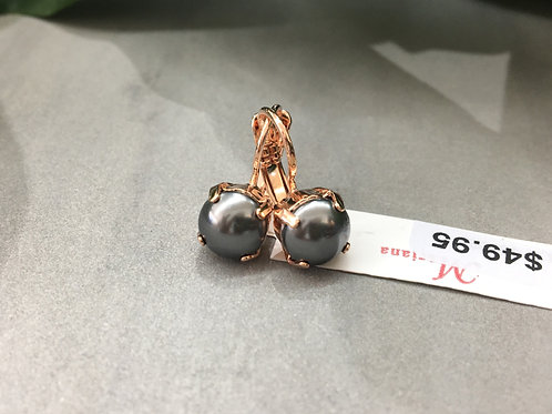 Small Charcoal Pearlescent Rose Gold Earrings - Mariana